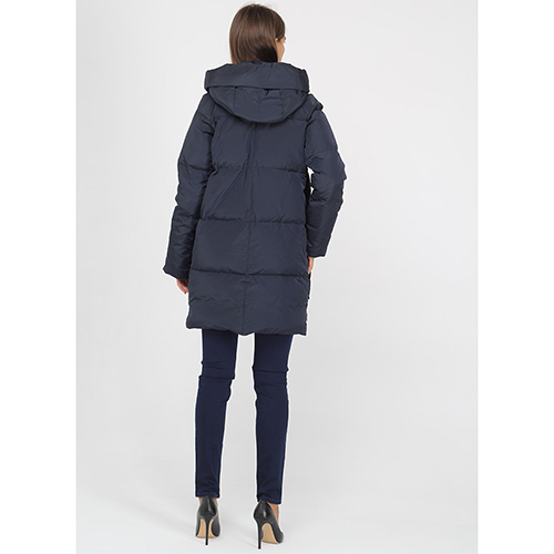 Пуховик Armani Jeans синего цвета средней длины, фото