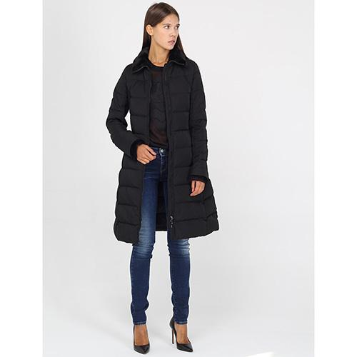 Пальто-пуховик Armani Jeans черного цвета на молнии, фото