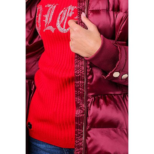 Пуховик Elisabetta Franchi бордового цвета с пышной юбкой, фото