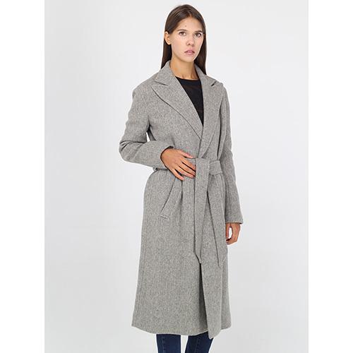 Шерстяное пальто Polo Ralph Lauren серого цвета на запах, фото