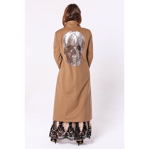 Длинное пальто Philipp Plein с принтом-черепом на спине, фото
