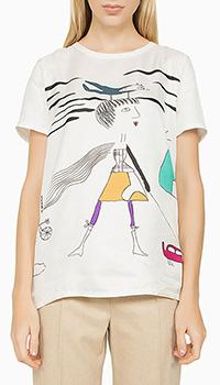 Шелковая блуза Max Mara с принтом белого цвета, фото