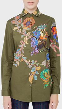 Зеленая рубашка Etro с животным принтом, фото