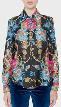 Черная шелковая блузка Etro с принтом, фото