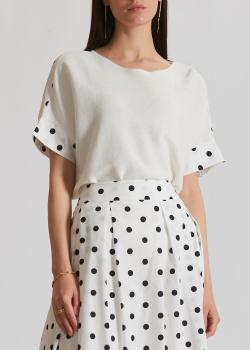 Белая блузка Luisa Cerano с принтом на спине, фото