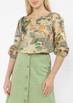 Бежевая блуза Etro с флористическим принтом, фото