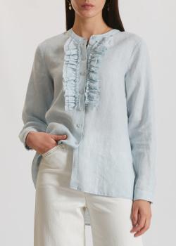 Льняная голубая блузка Riani с жабо, фото