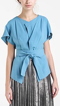 Шелковая блуза-кимоно Shako голубого цвета, фото