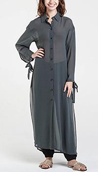 Прозрачная шелковая рубашка Shako длинная серого цвета, фото