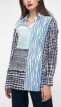 Рубашка Shako с сине-голубыми орнаментами, фото