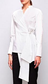 Белая блуза на запах Shako с широкими манжетами, фото