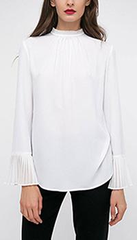 Шелковая блуза Shako белого цвета с плиссированными манжетами, фото