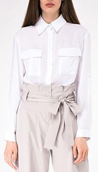 Рубашка белая Shako с накладными карманами, фото