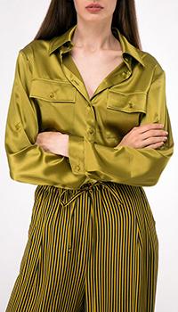 Оливковая рубашка Shako с накладными карманами, фото