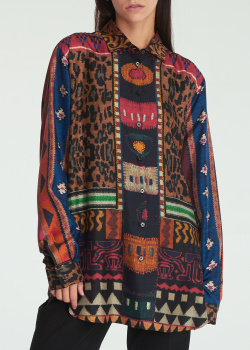 Шелковая блуза Etro с цветным принтом, фото