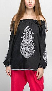 Черная блуза Emma&Gaia с вышивкой и открытыми плечами, фото