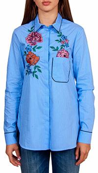 Рубашка Sfizio голубого цвета в тонкую белую полоску, фото