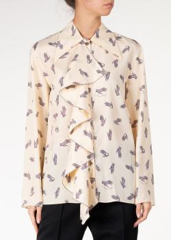 Бежевая блуза Nina Ricci с широкими рукавами, фото
