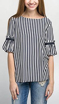 Черно-белая блуза Emma&Gaia в полоску, фото