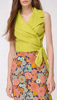 Льняная блуза Shako фисташкового цвета на запах, фото