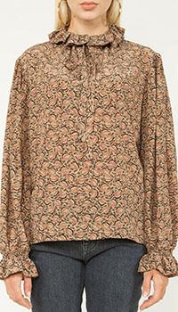 Шелковая блуза Etro с оборками, фото