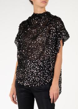 Черная блуза Isabel Marant с драпировкой и камнями, фото