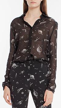 Черная блузка Pinko с космическим принтом, фото