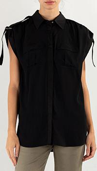 Черная блузка Pinko из шелка, фото