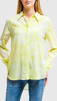 Шелковая рубашка Pinko желтого цвета, фото