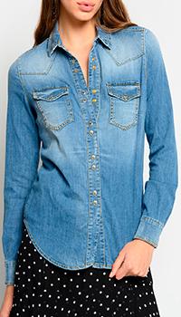 Джинсовая рубашка Pinko классического кроя, фото