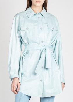 Кожаная рубашка Drome голубого цвета, фото