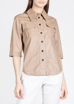 Кожаная рубашка N21 с рукавом три четверти, фото