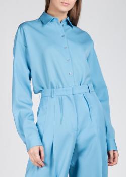 Однотонная рубашка Rochas в голубом цвете, фото