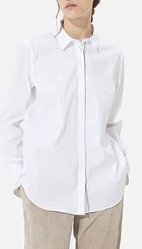 Белая рубашка Brunello Cucinelli с длинным рукавом, фото