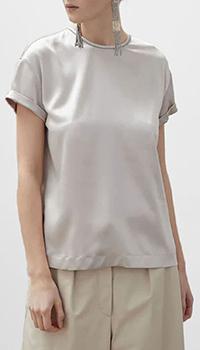 Бежевая блузка Brunello Cucinelli из шелка, фото