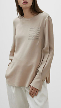 Шелковая блузка Brunello Cucinelli в бежевом цвете, фото