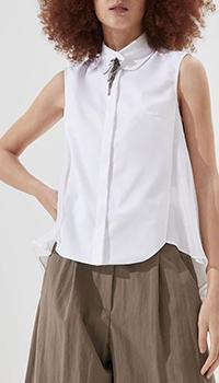 Белая блузка Brunello Cucinelli с коротким рукавом, фото
