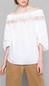 Белая блузка Twin-Set My Twin с кружевными вставками, фото