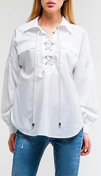 Белая рубашка Twin-Set на шнуровке, фото
