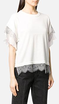 Белая блуза Twin-Set с кружевной отделкой, фото
