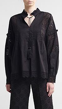 Хлопковая блуза Twin-Set черного цвета, фото