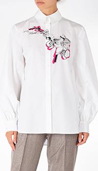 Белая рубашка Karl Lagerfeld с цветочным принтом, фото