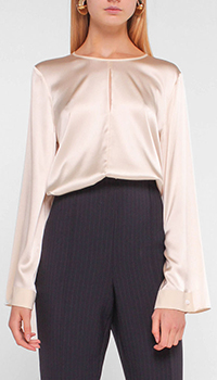 Шелковая блузка Luisa Cerano молочного цвета, фото
