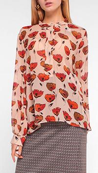 Бежевая блузка Luisa Cerano с принтом-маком, фото