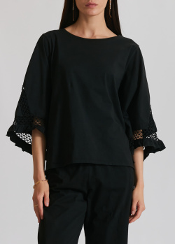 Черная блузка Dorothee Schumacher с широкими рукавами, фото