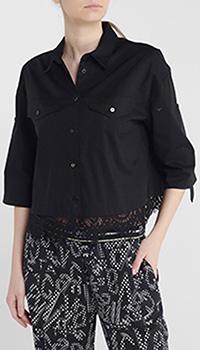 Черная блуза Twin-Set с укороченным рукавом, фото