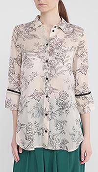 Бежевая блуза Twin-Set с цветочным принтом, фото