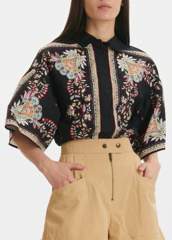 Черная блузка Twin-Set с цветочным принтом, фото