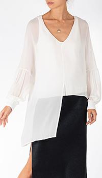 Шелковая блуза Patrizia Pepe с асимметричным низом, фото