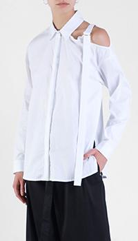 Белая рубашка Patrizia Pepe с открытым плечом, фото